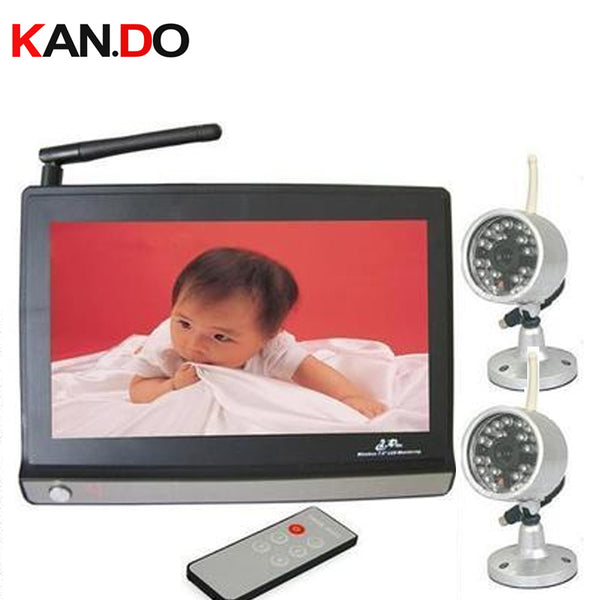 LCD Monitor 2.4G Wireless CCTV Camera baby monitor,4 channels