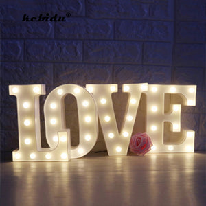kebidu Romantic White Plastic Letter Light Marquee Sign Alphabet Lights Lamp for Home Club Outdoor Indoor LED Wall Decoration