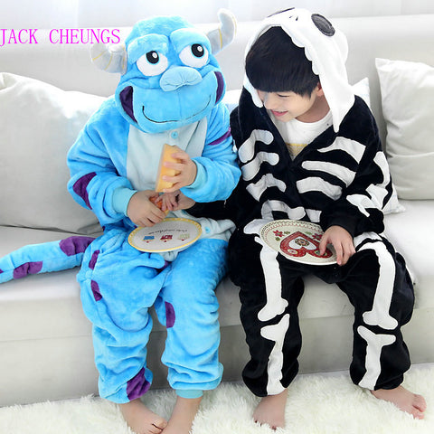 Kid Blue Monster Onesies Pajamas Cartoon Costume Cosplay Skeleton Pyjamas  Animal Children