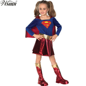 S-L New Kid Superhero Costume Superman Wonder Woman Children Halloween For Girls