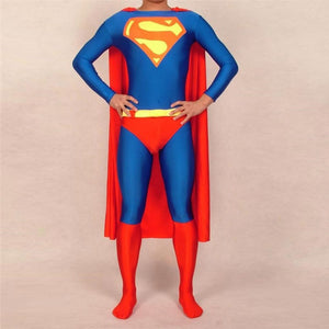 Adult/Childrens Mens/Womens Superman Spandex Material Superhero Costume 2XS-6XL