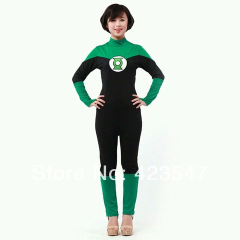 Female version of DC Comics Green Lantern Black & Green Spandex Superhero Costume