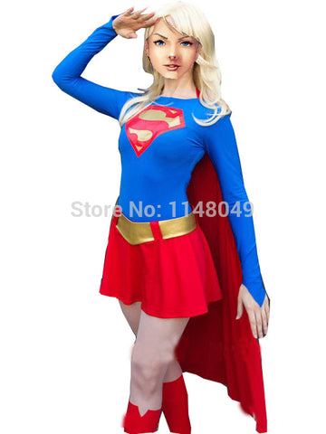 Blue and Red Spandex Supergirl Costume Superhero women/girls