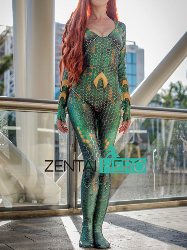 3D Printing Mera Aquaman Movie Costume Justice League Costumes Tight Catsuit