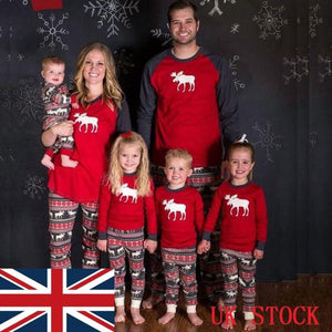 New Year's Costumes For Family Christmas Family Matching Pajamas Set Adult Kids Baby Moose Nightwear Familys Match Pyjamas Set