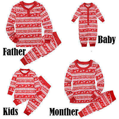 2017 Casual Family Matching Christmas Pajamas Set Women Baby Kids Cotton Deer Sleepwear Nightwear