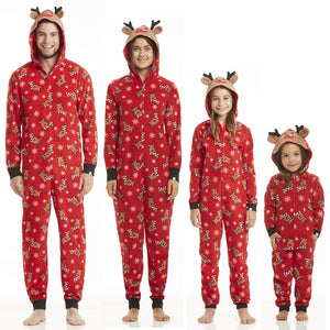 Family Matching Outfits Christmas Family Pajamas Set Adult Women Men Kid Long Sleeve Hooded Sleepwear