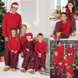 2017 Xmas 2pcs Family Matching Christmas Pajamas Set Mom Dad Baby Kids Plaid RED