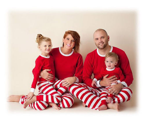 2018 Family Matching Red Green White Striped Christmas Pajamas PJs Sets Kids Xmas Sleepwear Nightwear