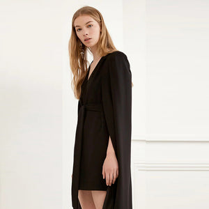 Women Solid Cloak Sleeves Dress Brief Sashes Sleeveless V-Neck Cape Slim Straight Dress