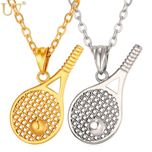 U7 Tennis Racket Pendant Necklace For Men/Women Stainless Steel Sport