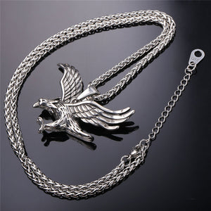 U7 Eagle Pendant Necklace Men Jewelry Gold Plated /Stainless Steel Haw