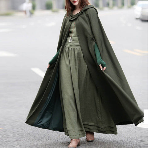 2018 Fashion Women Winter Hooded Open Front Cloak Loose Casual Solid Long Coat Hoodies