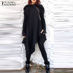 Hooded Long Sleeve Poncho Pullover Zip Loose Casual Autumn Cloak Plus Size