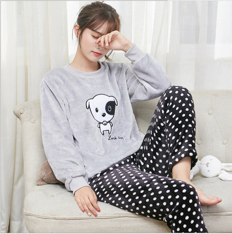 Women Flannel Adults Winter Warm Pajama Sets Long Sleeved  dog Cartoon Sleepwear