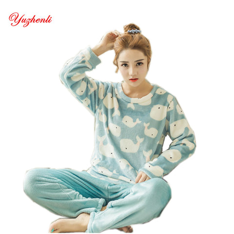 Women Flannel Adults Winter Warm Pajama Sets Long Sleeved Velvet Cartoon Sleepwear