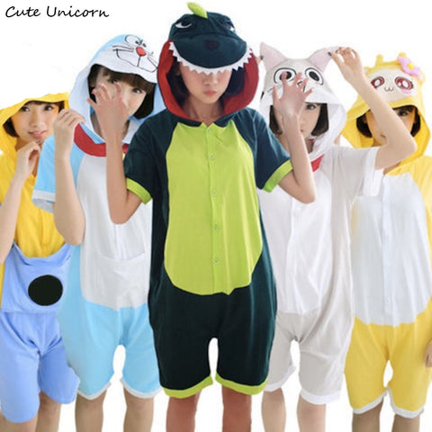 Short Sleeve Animal Pajamas Unisex Pajamas Cartoon Adult Cotton Onesies hooded