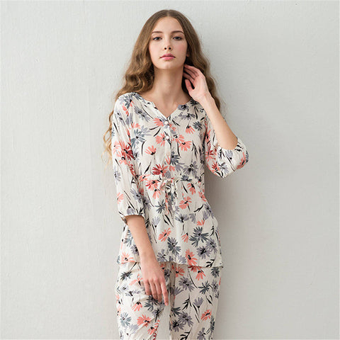 Pajamas Sets Spring&summer women's fresh prints pyjamas woman comfortable adult onesie