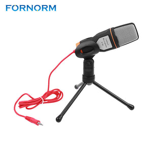 Professional 3.5mm Stereo Condenser Tripod Clip Microphone  for Video Recording for Skype MSN Chatting Singing Karaoke