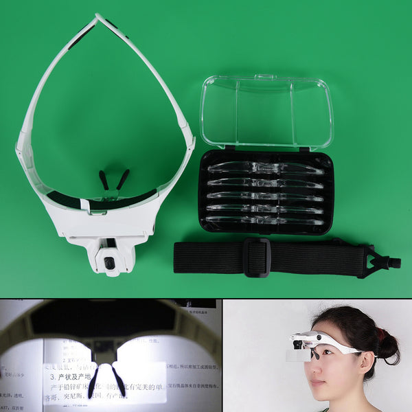1 set LED Light Headband Eye Magnification Goggles Magnifying Glasses For Tattoo Graft Eyelash