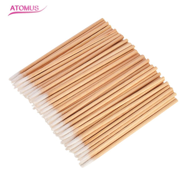 200Pcs/lot Wooden Handle Cotton Swab Makeup Clean Applicator Medical Swabs Ear Jewelry Eyelashes
