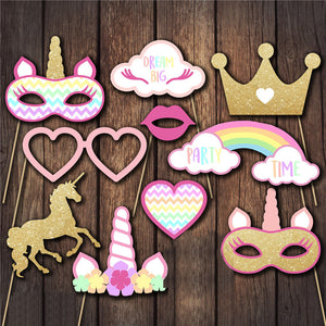 10PCS/ Set Unicorn Party Photo Booth Props Rainbow Unicorn