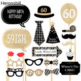 60th Birthday Photo Booth Props Happy 60 Years Party Decorations
