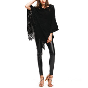 Knitted Sweater Poncho Batwing Sleeve Coat Elegant Pullover Jumper