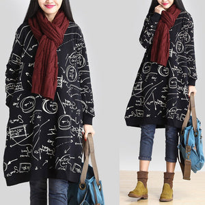 Celmia Women Casual Hoodie Dress Autumn Vintage Printed Hoodies Sweatshirt