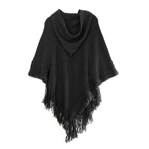 Women Cloak Hooded Sweaters Knit Bat wing Top Poncho With Hood Cape Coat Tassel
