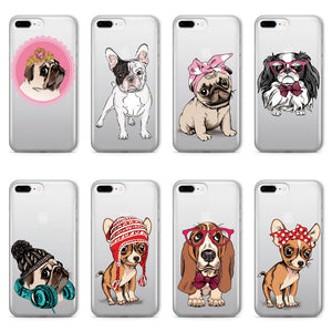 Puppy Pug French Bulldog Soft Clear iPhone 5 5S SE 6 6S 6Plus 7 7Plus 8 8Plus X Phone Cover Case
