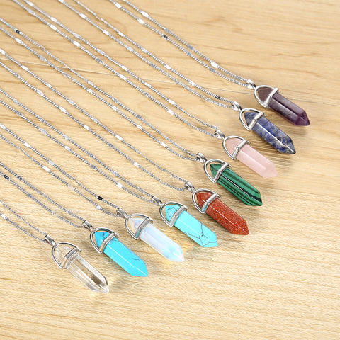 Hexagonal Column Quartz Necklaces Pendants Vintage Natural Stone Bullet Crystal Necklace