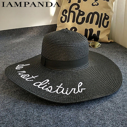 eff7d0d2068 IAMPANDA brand 2017 letter embroidery cap Big brim Ladies summer straw hat  youth hats for women