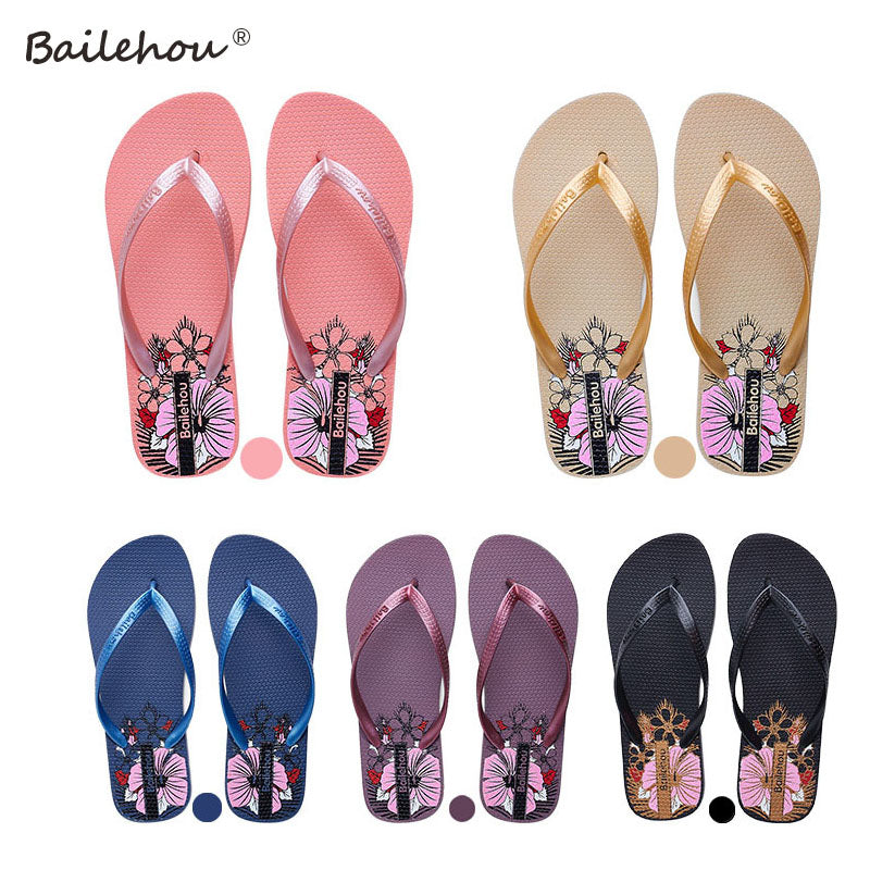 c984d3b39143 ... Bailehou Women Flip Flops Shoes Slippers Fashion Designer Beach Ladies  2017 Summer Outside Sandals Mujer Flats ...