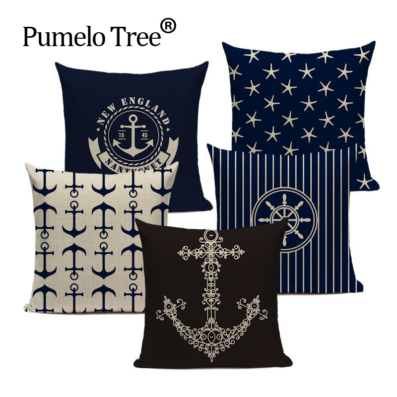 Nautical Throw Pillows Velvet Anchor Sea Style Throw Case Sofa Home Interesting Pillow Case Covers For Throw Pillows