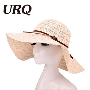URQ Summer Sun Hats For Women Lace Cotton soft Big Fashion Design Women  Beach Sun Hat 267e94be8105