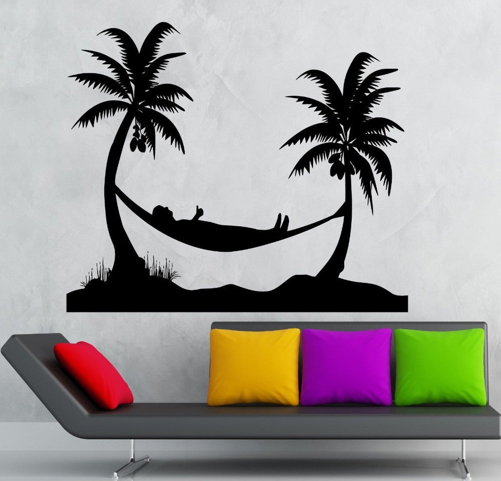 Hammock Wall Stickers Enjoy Beach Holidays Coconut Tree DIY Living Room Wall  Decal Murals Vinyl Removable Palm Trees Wall Decor