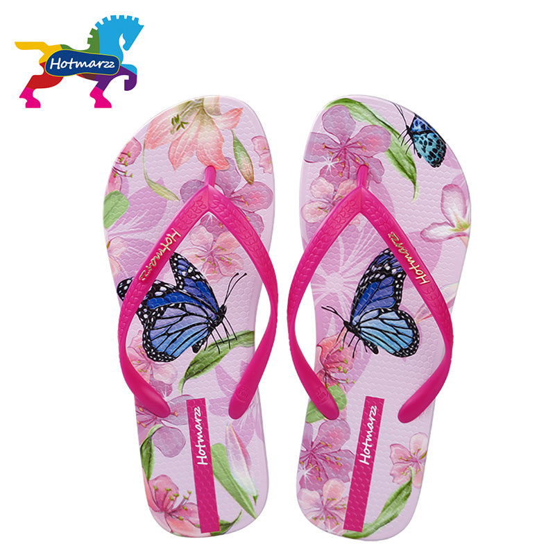 eac4c1bb81e Hotmarzz Women Beach Flip Flops Butterfly Floral 2018 Summer Fashion  Slippers Ladies Comfy House Shoes Woman ...
