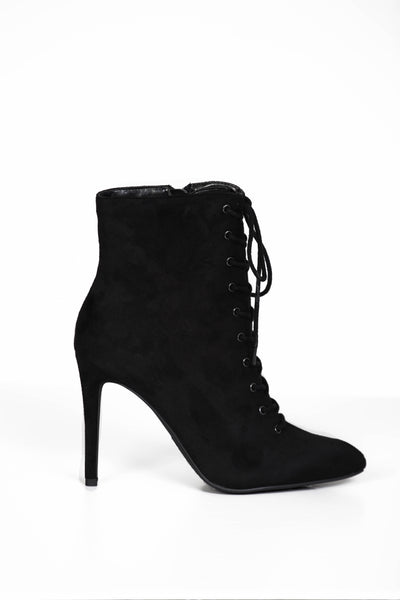 Morgan Black Lace Up Booties
