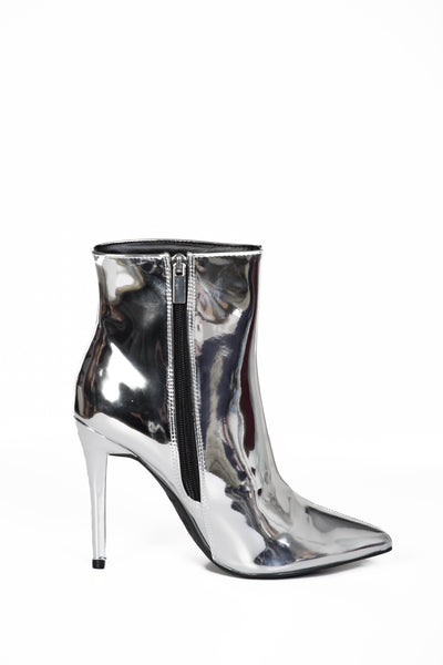 Silver Mirror Booties