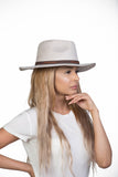 Flat Brim Light Grey Fedora Hat