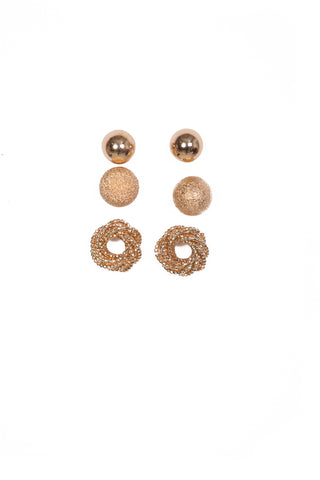 Set of Three Gold Studs