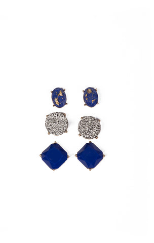 Set of Three Blue Studs
