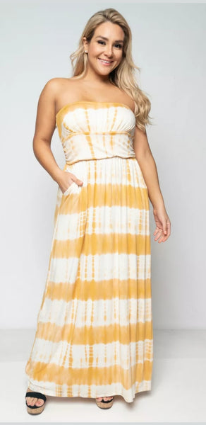 Women's Plus Size Tie-Dye Pocketed Maxi Dress