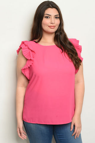 Women's Plus Size Fuchsia Ruffled Sleeveless Blouse