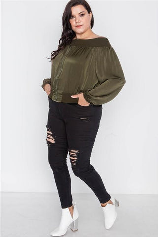 Women's Plus Size Off-Shoulder Cropped Olive Jacket