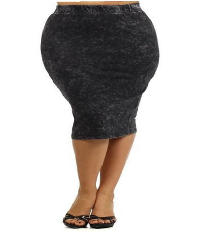 Women's Plus Size Fitted Denim Look Knit Skirt 1X