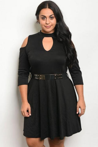 Womens plus cold shoulder belted dress
