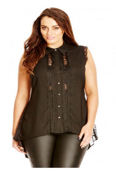 Womens Plus Size Black High Low Hi Lo Top Blouse Shirt