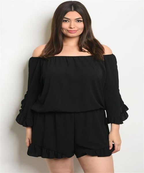 Women's Plus Size Black Sleeveless Off-Shoulder Romper